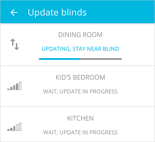 Blue link Tap to Update a blind
