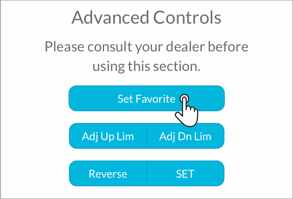 Smart Controller how to set a favourite position - step 4